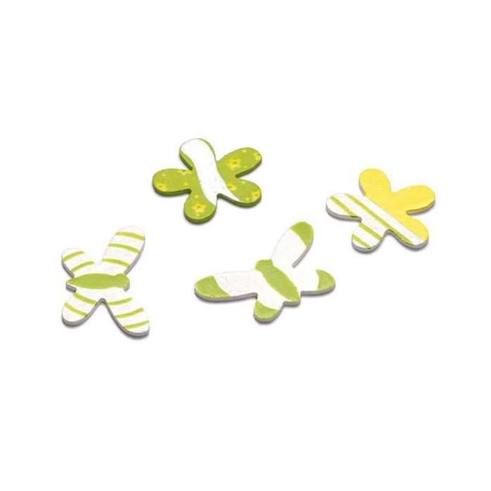 Flower/Butterfly decorations, 12 pcs, 4cm