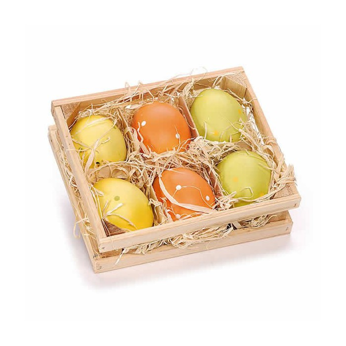 Wooden box 13x16cm with 6 coloured eggs