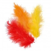 Marabu feathers, orange mix, 15 pcs, 10cm