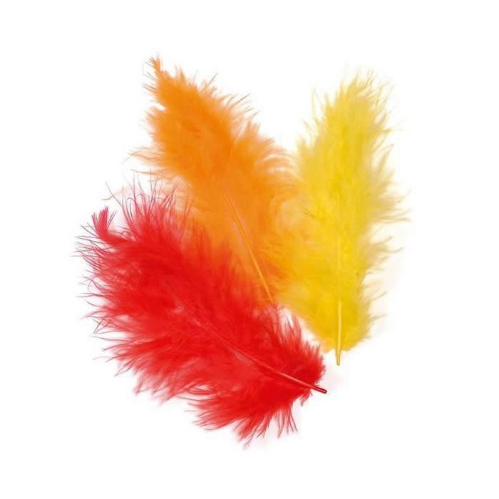 Marabu feathers, orange mix, 15 pcs, 10cm