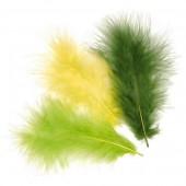 Plumes de marabout, mix vert, 15 pièces, env. 10cm