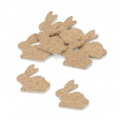 Wooden/cork rabbits, 3cm, 12 pcs