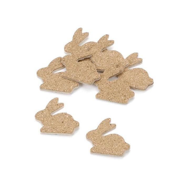 Wooden/cork rabbits, 3cm, 12 pcs