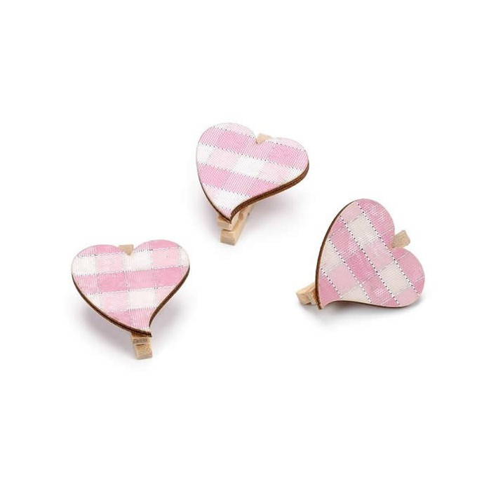 Pink hearts on peg, 2.5cm, 24pcs