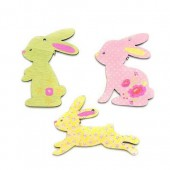Wooden rabbits, pink/green, 4cm, 6 pcs