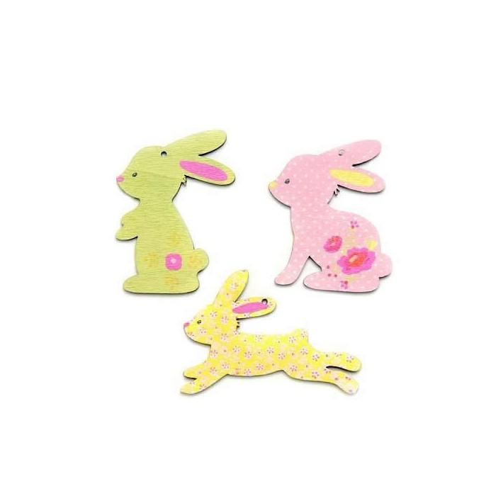 Wooden rabbits, pink/green, 4cm, 6 pcs