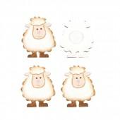 Moutons en bois, 2.5cm, 8 pcs