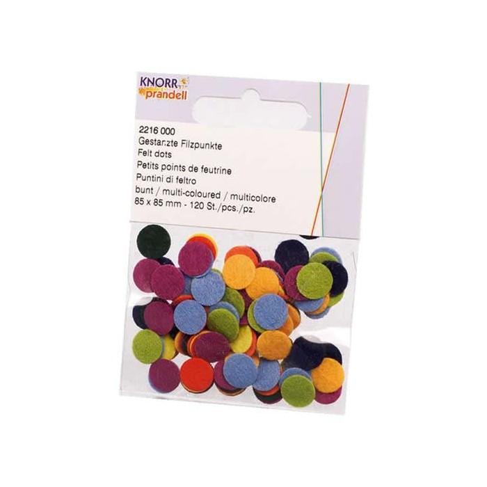 Assorted felt dots, 85mm, 120 pcs