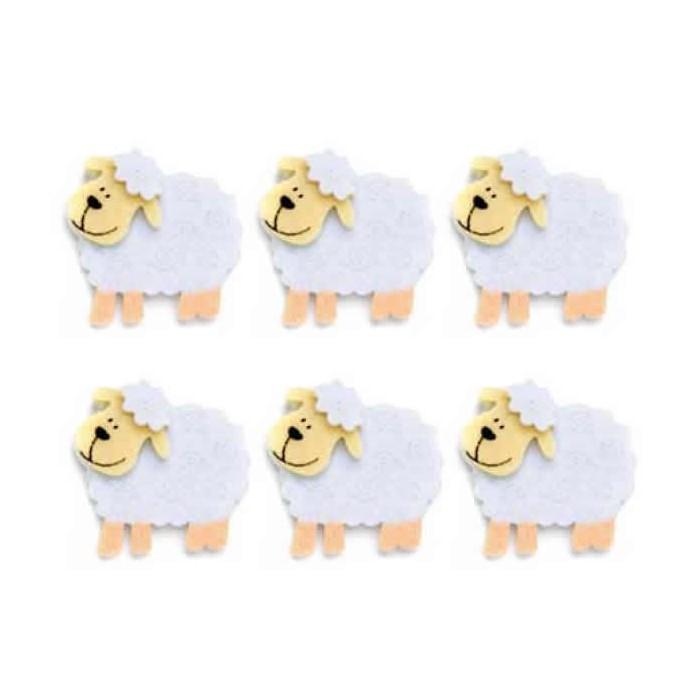 Felt sheep, 45mm, 6 pcs