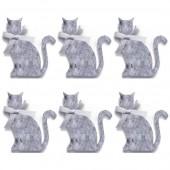 Chats en feutrine, 50mm, gris, 6 pces