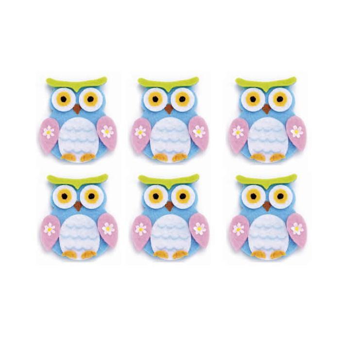 Felt Owls, 4x5cm, blue, 6 pcs