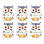 Felt Owls, 4x5cm, grey, 6 pcs