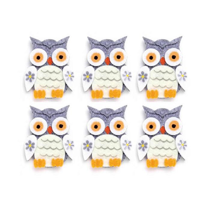 Felt Owls, 4x5cm, grey, 6 pcs