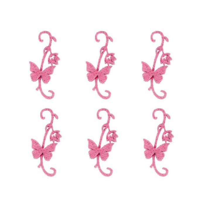 Felt butterflies, 11cm, dark pink, 6 pcs