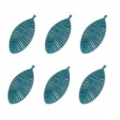 Felt leaves 70mm, petrol blue, 12 pcs
