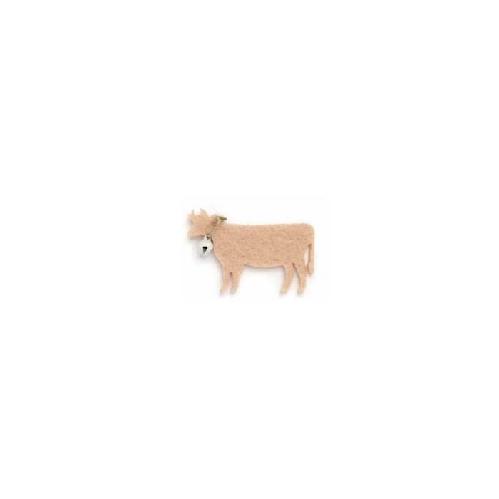 Felt cows light brown, 55mm, 6 pcs