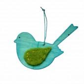 Oiseau en bois avec attache, 12cm, turquoise