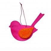 Oiseau en bois avec attache, 12cm, rose
