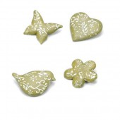 Polyresin objects, green 24 pcs