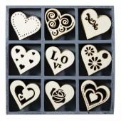 Elements déco en bois : coeurs