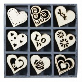 Wooden elements : hearts