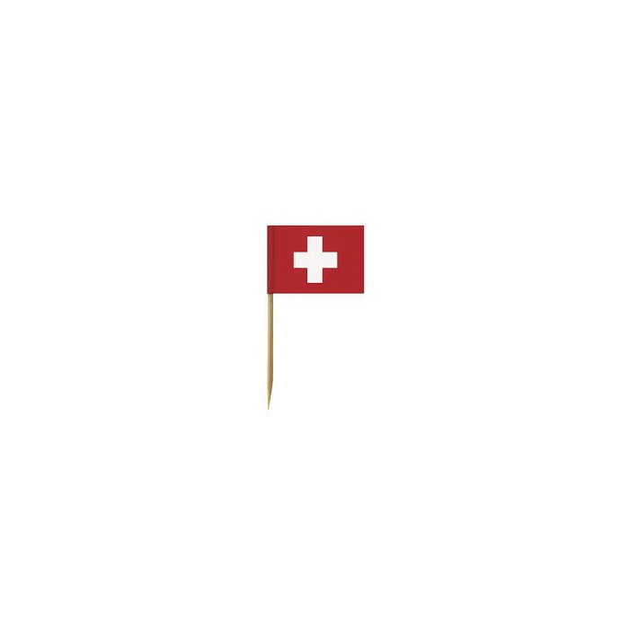 Party picks, Swiss flags, 6.5cm, 10 pcs