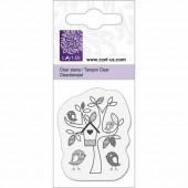 Mini tampon transparent arbre / oiseaux