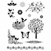 Tampons en silicone, oiseaux et fleurs