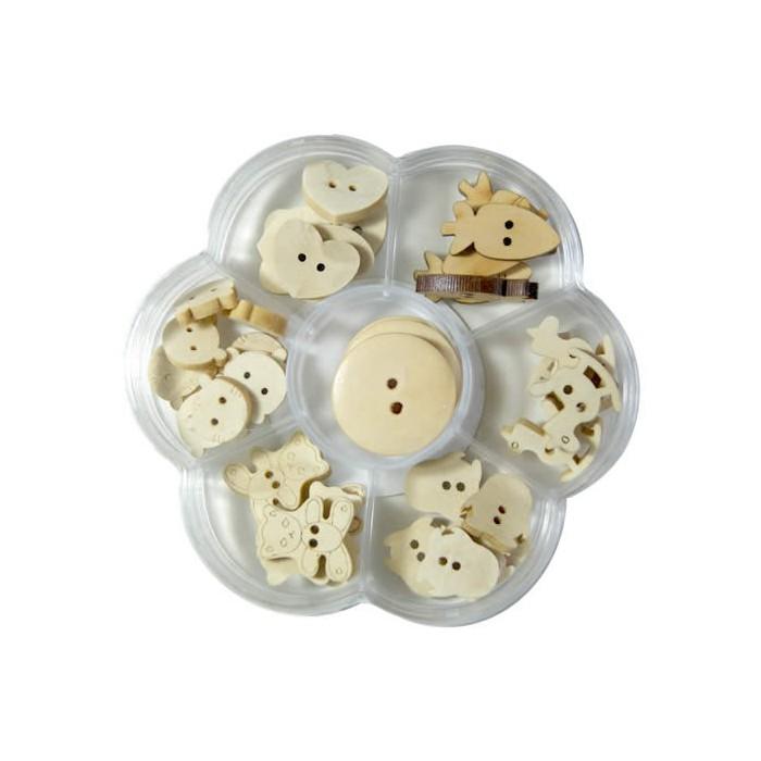 Wooden buttons, 40 pcs assorted
