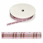 Ribbon Blackberry Tartan pink, 7mm/2.5m