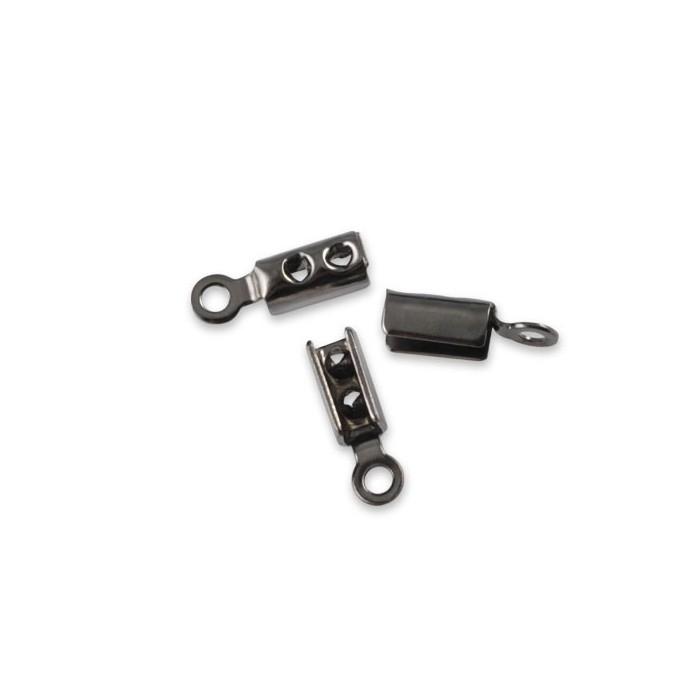 End cord fold crimps black, 2mm, 4 pcs