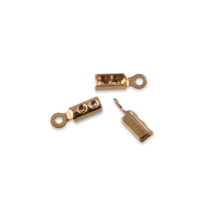 End cord fold crimps gold, 2mm, 4 pcs