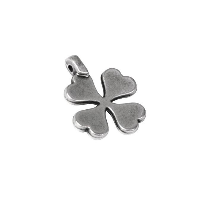 Clover pendant, 15mm, silver, 3 pcs
