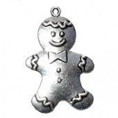 Pendant Gingerbread Man, silver colour, 45x28mm, 1 pce