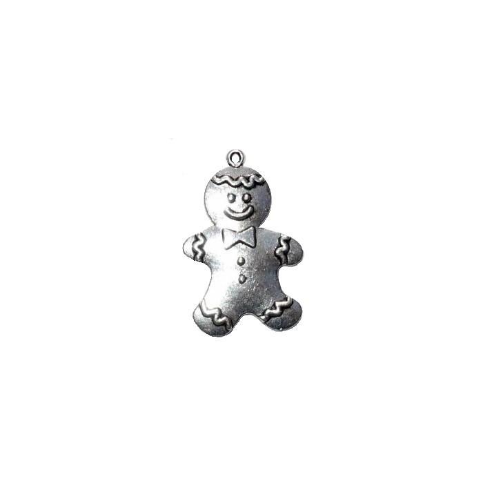 Pendant Gingerbread Man, silver colour, 45x28mm, 1 pce