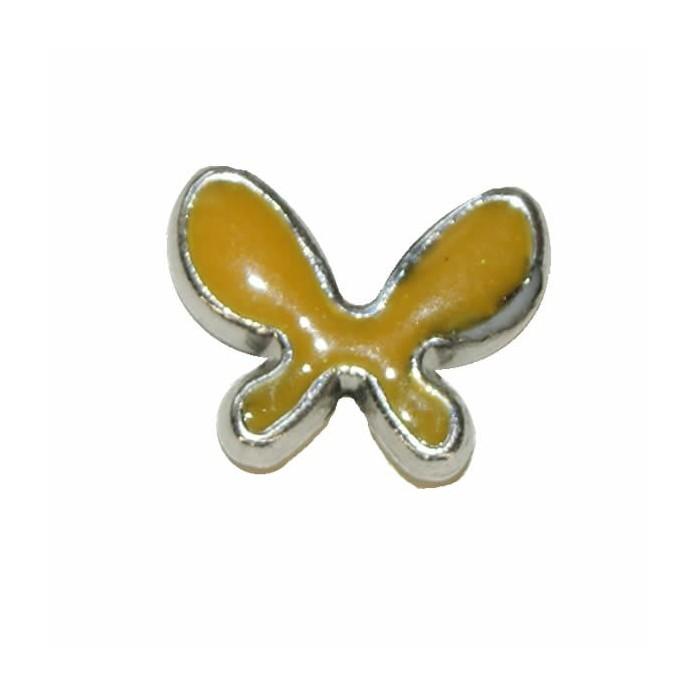 Pendant Butterfly, 20x15mm, yellow, 2 pcs