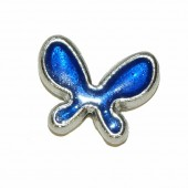 Butterfly bead, 20x15mm, blue, 2 pcs