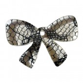 Plastic Bow, lace effect, 30x20mm, 1 pce