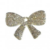 Plastic Bow, glitter effect, 30x20mm, 1 pce