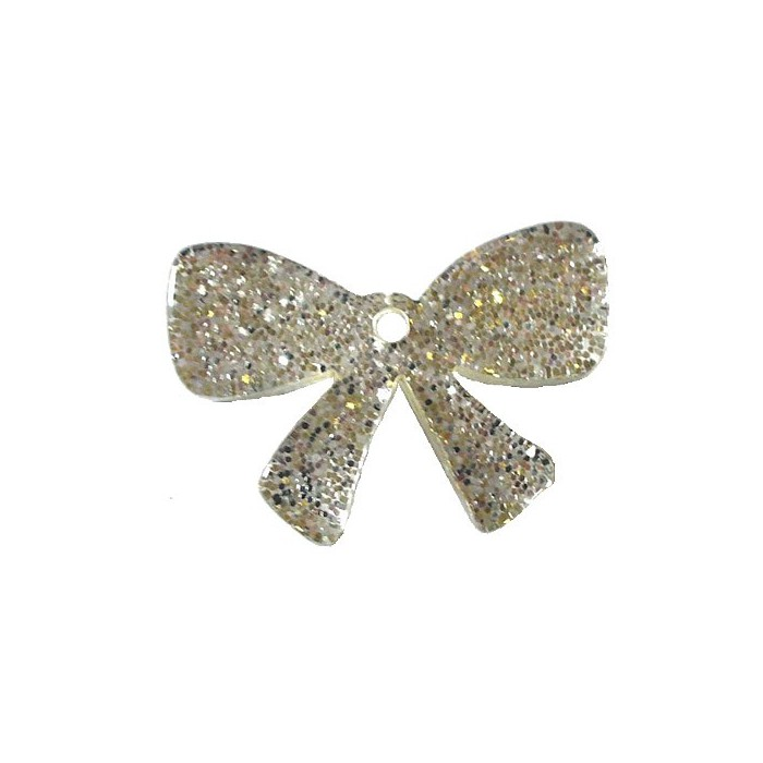 Plastic Bow, glitter effect, 30x20mm, 1 pce