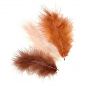 Marabu feathers, brown mix, 15 pcs, 10cm