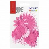 Paper flowers pink, 24 pcs