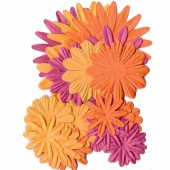 Paper flowers orange, 24 pcs