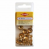 Assorted studs gold-coloured, 46 pcs
