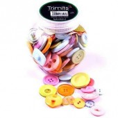 Boutons ronds assortis pastel, 130 pcs
