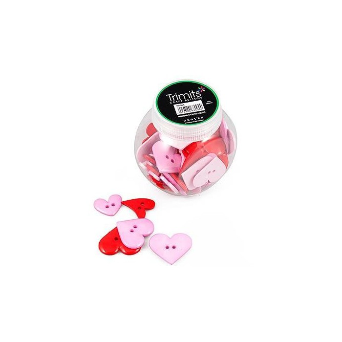 Assorted buttons hearts, 80 pcs