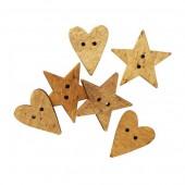 Tilda - Boutons en bois coeur / étoile