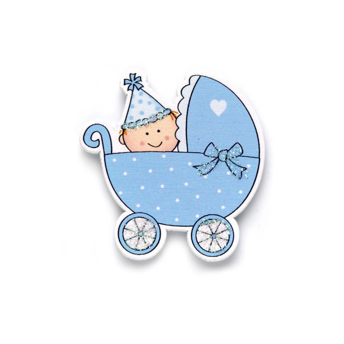 Wooden baby carriages, light blue, 35x40mm, 6 pcs