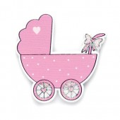 Wooden baby carriages, pink, 35x40mm, 6 pcs