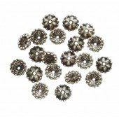 Bead cap 7mm, silver, 20 pcs